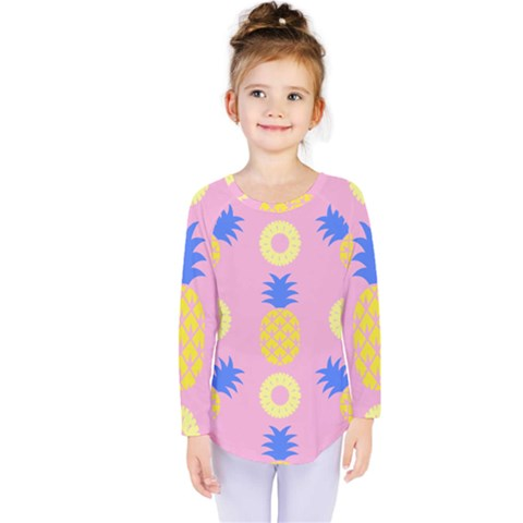 Pop Art Pineapple Seamless Pattern Vector Kids  Long Sleeve Tee by Sobalvarro