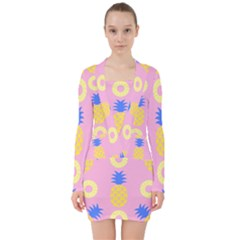 Pop Art Pineapple Seamless Pattern Vector V-neck Bodycon Long Sleeve Dress