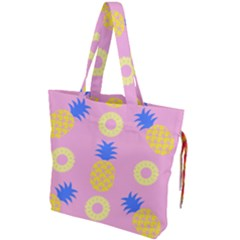 Pop Art Pineapple Seamless Pattern Vector Drawstring Tote Bag by Sobalvarro