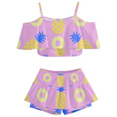 Pop Art Pineapple Seamless Pattern Vector Kids  Off Shoulder Skirt Bikini