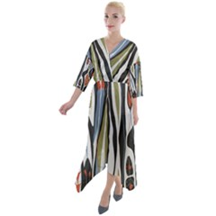 Borastapeter Scandinavian Designers Quarter Sleeve Wrap Front Maxi Dress by Sobalvarro