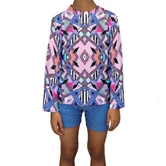 Marble Texture Print Fashion Style Patternbank Vasare Nar Abstract Trend Style Geometric Kids  Long Sleeve Swimwear