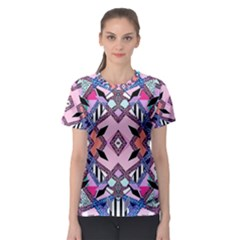 Marble Texture Print Fashion Style Patternbank Vasare Nar Abstract Trend Style Geometric Women s Sport Mesh Tee