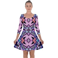 Marble Texture Print Fashion Style Patternbank Vasare Nar Abstract Trend Style Geometric Quarter Sleeve Skater Dress
