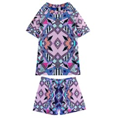 Marble Texture Print Fashion Style Patternbank Vasare Nar Abstract Trend Style Geometric Kids  Swim Tee And Shorts Set