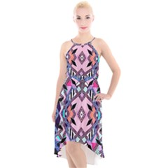 Marble Texture Print Fashion Style Patternbank Vasare Nar Abstract Trend Style Geometric High-low Halter Chiffon Dress