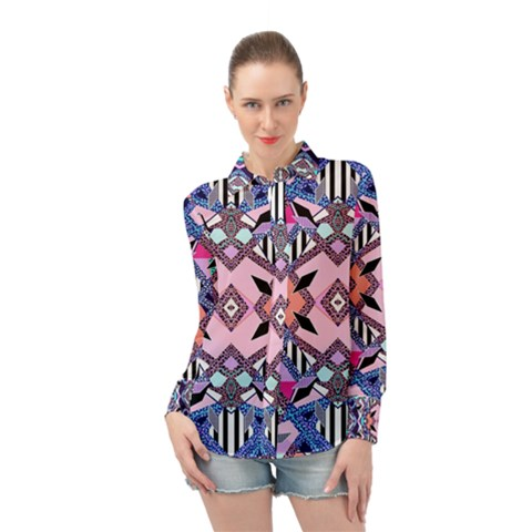 Marble Texture Print Fashion Style Patternbank Vasare Nar Abstract Trend Style Geometric Long Sleeve Chiffon Shirt by Sobalvarro