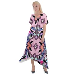 Marble Texture Print Fashion Style Patternbank Vasare Nar Abstract Trend Style Geometric Cross Front Sharkbite Hem Maxi Dress