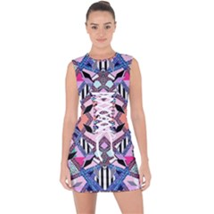 Marble Texture Print Fashion Style Patternbank Vasare Nar Abstract Trend Style Geometric Lace Up Front Bodycon Dress