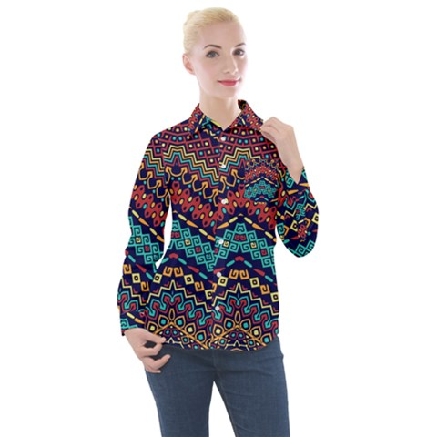 Ethnic  Women s Long Sleeve Pocket Shirt by Sobalvarro