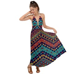 Ethnic  Backless Maxi Beach Dress by Sobalvarro