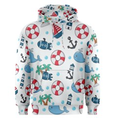 Seamless Pattern Nautical Icons Cartoon Style Men s Pullover Hoodie