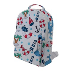 Seamless Pattern Nautical Icons Cartoon Style Flap Pocket Backpack (large)