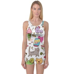 Set Kawaii Doodles One Piece Boyleg Swimsuit
