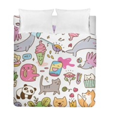 Set Kawaii Doodles Duvet Cover Double Side (full/ Double Size)
