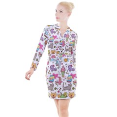 Set Kawaii Doodles Button Long Sleeve Dress