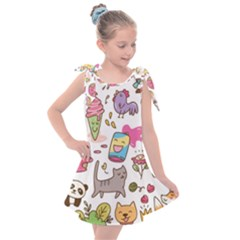Set Kawaii Doodles Kids  Tie Up Tunic Dress
