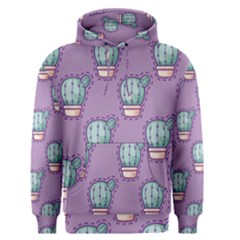 Seamless Pattern Patches Cactus Pots Plants Men s Pullover Hoodie