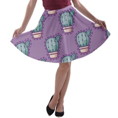 Seamless Pattern Patches Cactus Pots Plants A Line Skater Skirt