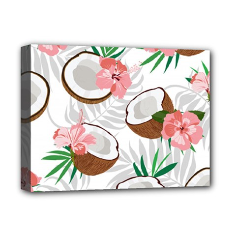 Seamless Pattern Coconut Piece Palm Leaves With Pink Hibiscus Deluxe Canvas 16  X 12  (stretched)  by Vaneshart
