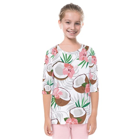 Seamless Pattern Coconut Piece Palm Leaves With Pink Hibiscus Kids  Quarter Sleeve Raglan Tee by Vaneshart
