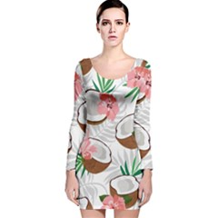 Seamless Pattern Coconut Piece Palm Leaves With Pink Hibiscus Long Sleeve Velvet Bodycon Dress