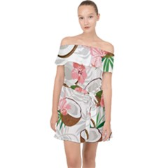 Seamless Pattern Coconut Piece Palm Leaves With Pink Hibiscus Off Shoulder Chiffon Dress
