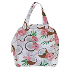Seamless Pattern Coconut Piece Palm Leaves With Pink Hibiscus Boxy Hand Bag