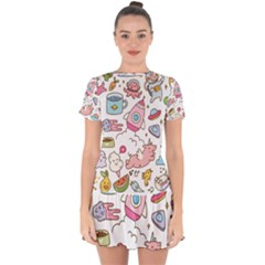 Set Kawaii Doodles Drop Hem Mini Chiffon Dress