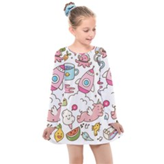 Set Kawaii Doodles Kids  Long Sleeve Dress
