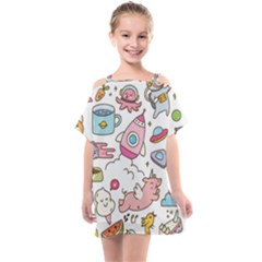 Set Kawaii Doodles Kids  One Piece Chiffon Dress by Vaneshart
