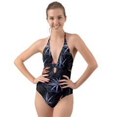 Exotic Flower Leaves Seamless Pattern Halter Cut Out One Piece Swimsuit