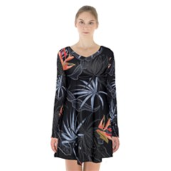 Exotic Flower Leaves Seamless Pattern Long Sleeve Velvet V Neck Dress