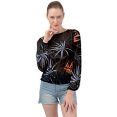 Exotic Flower Leaves Seamless Pattern Banded Bottom Chiffon Top by Vaneshart