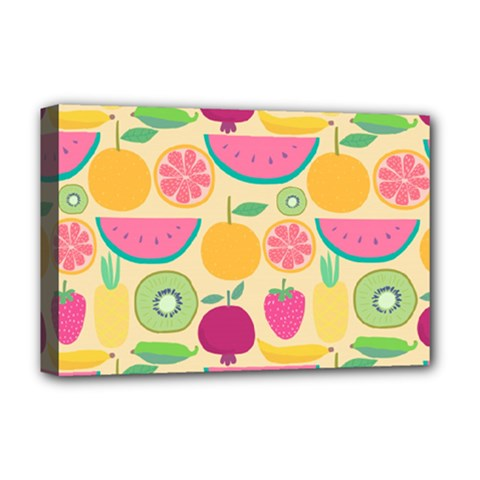 Seamless Pattern With Fruit Vector Illustrations Gift Wrap Design Deluxe Canvas 18  X 12  (stretched)