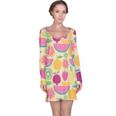 Seamless Pattern With Fruit Vector Illustrations Gift Wrap Design Long Sleeve Nightdress