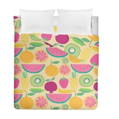Seamless Pattern With Fruit Vector Illustrations Gift Wrap Design Duvet Cover Double Side (full/ Double Size)