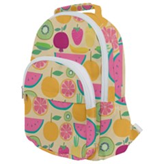 Seamless Pattern With Fruit Vector Illustrations Gift Wrap Design Rounded Multi Pocket Backpack