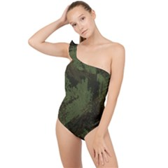 Camouflage Brush Strokes Background Frilly One Shoulder Swimsuit