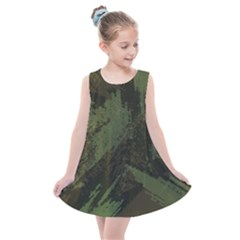 Camouflage Brush Strokes Background Kids  Summer Dress