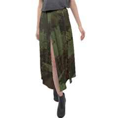 Camouflage Brush Strokes Background Velour Split Maxi Skirt by Vaneshart