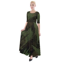 Camouflage Brush Strokes Background Half Sleeves Maxi Dress