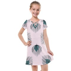 Green Tropical Leaves Seamless Pattern Kids  Cross Web Dress by Vaneshart