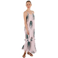Green Tropical Leaves Seamless Pattern Cami Maxi Ruffle Chiffon Dress