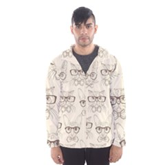 Seamless Pattern Hand Drawn Cats With Hipster Accessories Men s Hooded Windbreaker by Vaneshart