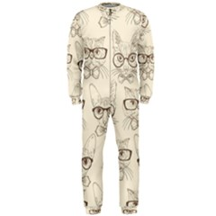 Seamless Pattern Hand Drawn Cats With Hipster Accessories Onepiece Jumpsuit (men)