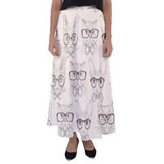 Seamless Pattern Hand Drawn Cats With Hipster Accessories Flared Maxi Skirt by Vaneshart