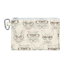 Seamless Pattern Hand Drawn Cats With Hipster Accessories Canvas Cosmetic Bag (medium)