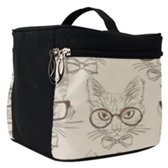 Seamless Pattern Hand Drawn Cats With Hipster Accessories Make Up Travel Bag (small) by Vaneshart