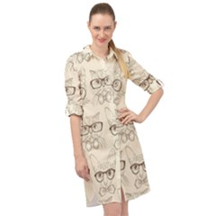 Seamless Pattern Hand Drawn Cats With Hipster Accessories Long Sleeve Mini Shirt Dress by Vaneshart